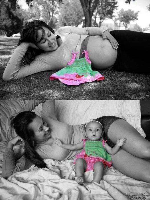 Mujer recostada en el pasto mostrando el antes y después del nacimiento de su bebé