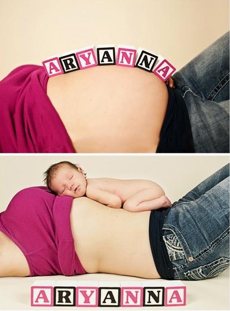 Chica mostrando el antes y después de su embarazo