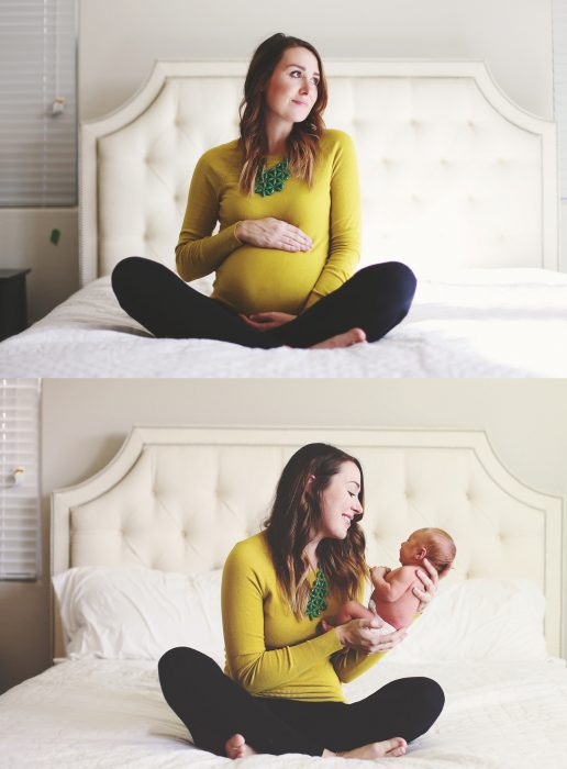 Mujer sentada en la cama mostrando el antes y después d su embarazo