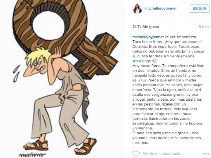 publicación de Instagram de la actriz Michelle Jenner