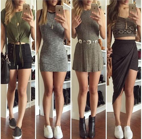 Chica con distintos conjuntos de faldas y vestidos