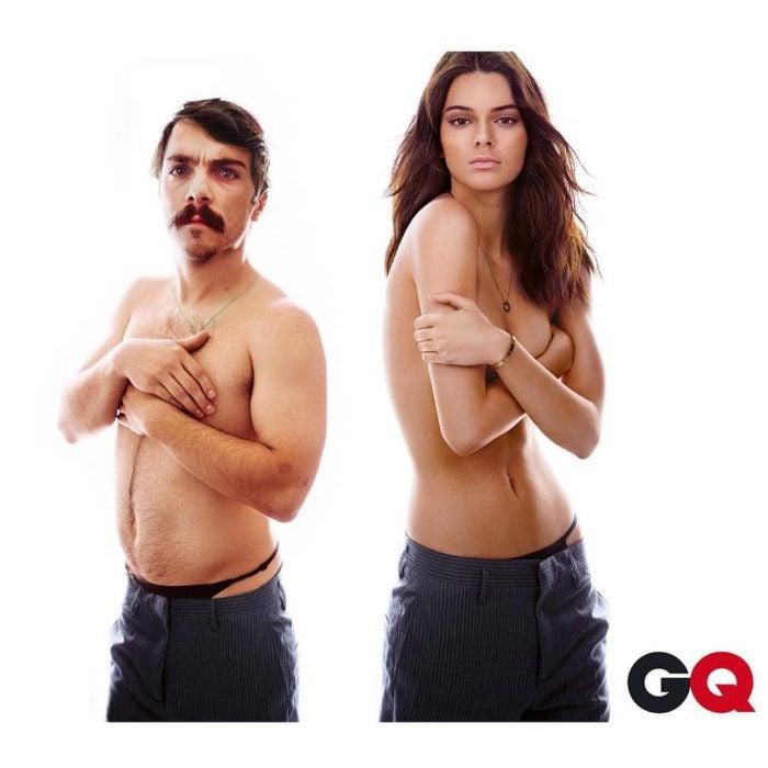 Chico posando de manera divertida junto a Kendall Jenner