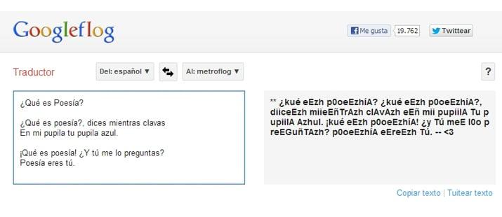 Traductor del idioma metroflog