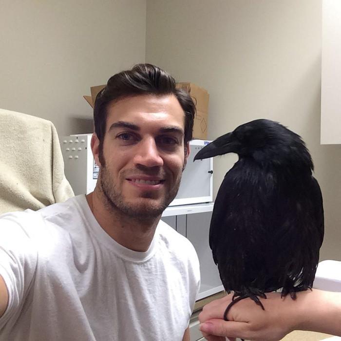 Veterinario Evan Antin con un cuervo