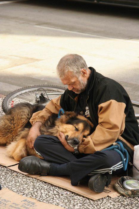 hombre de la calle con perro