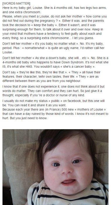 Publicación en facebook de una madre que tiene una bebé con Síndrome de Down
