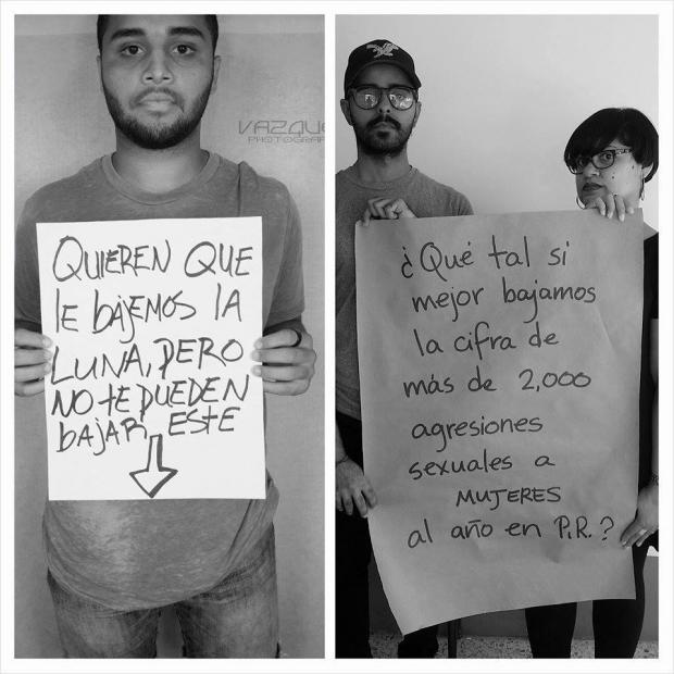 Mujer y hombre respondiendo a un hombre con un cartel sobre una campaña de equidad de género