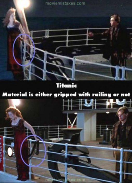 Errores de la película Titanic rose sosteniendo un hilo y después no