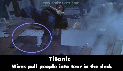 Errores de la película Titanic aparecen los cables de utileria en una escena