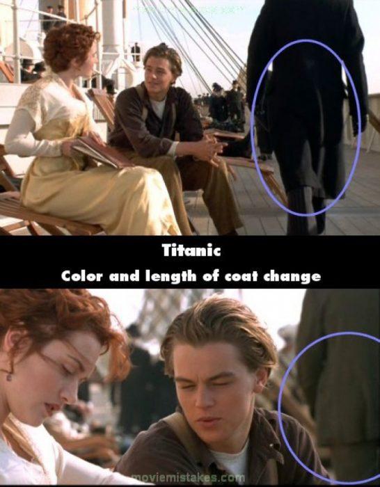 Errores de la película Titanic saco de un pasajero se corta y se alarga en otra escena