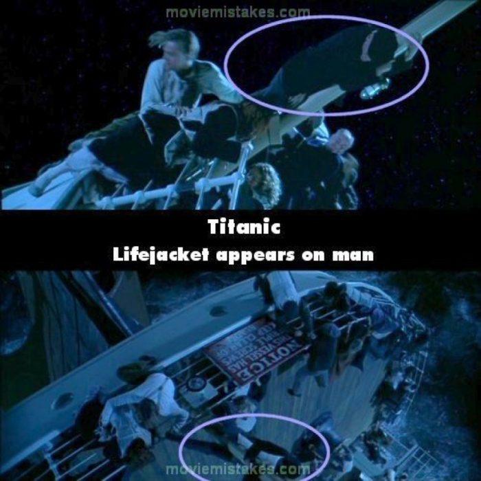 Errores de la película Titanic pasajero con y sin el chaleco