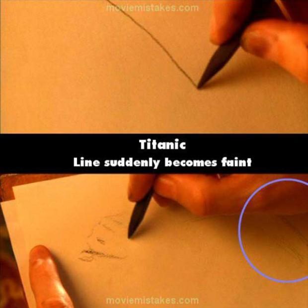 Errores de la película Titanic línea que desaparece de un dibujo de jack