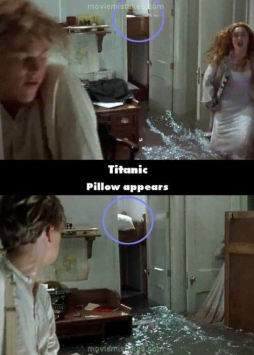 Errores de la película Titanic almohada que aparece misteriosamente atrás de rose