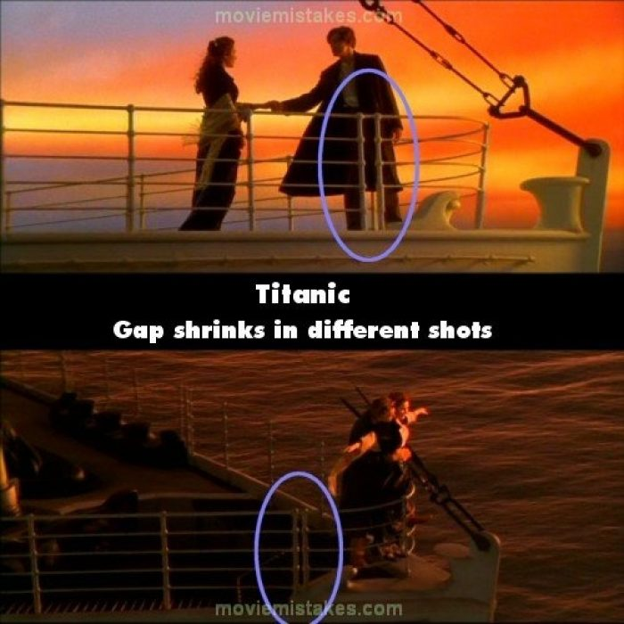 Errores de la película Titanic las barandillas cambian de lugar