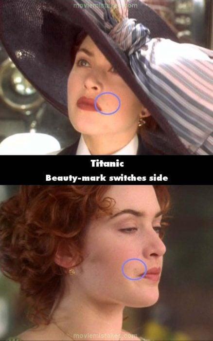 Errores de la película Titanic el lunar de rose cambia de lugar