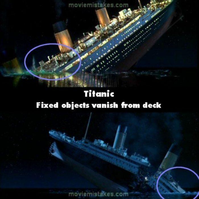 Errores de la película Titanic barco hundiéndose