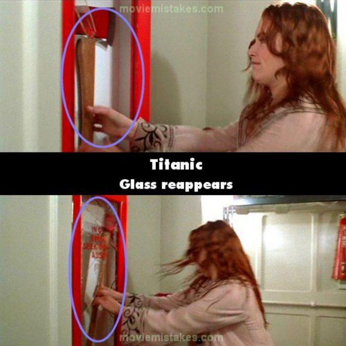 Errores de la película Titanic vidrio donde se encuentra el hacha es colocado y retirado