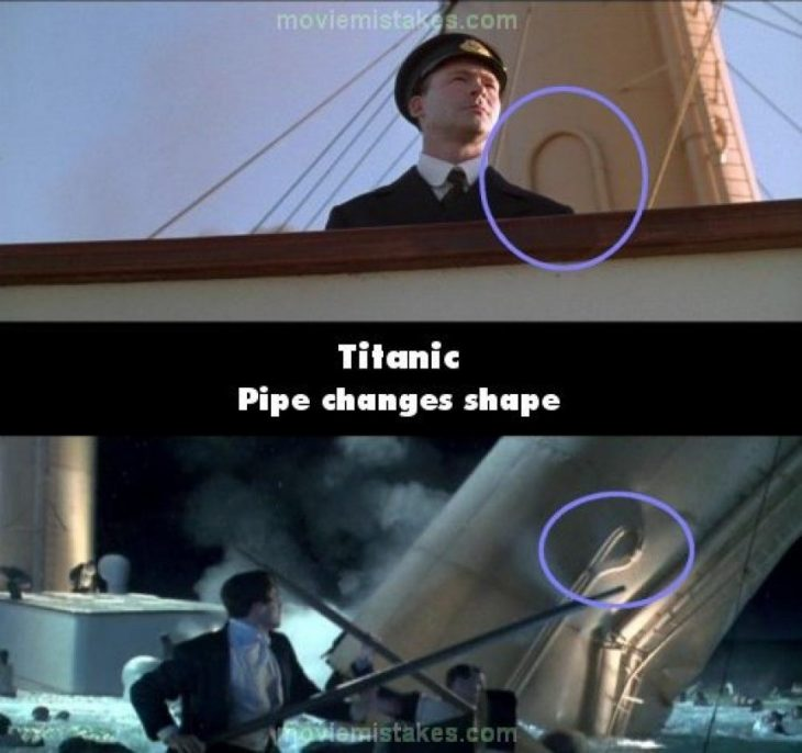 Errores de la película Titanic tuberías que cambian