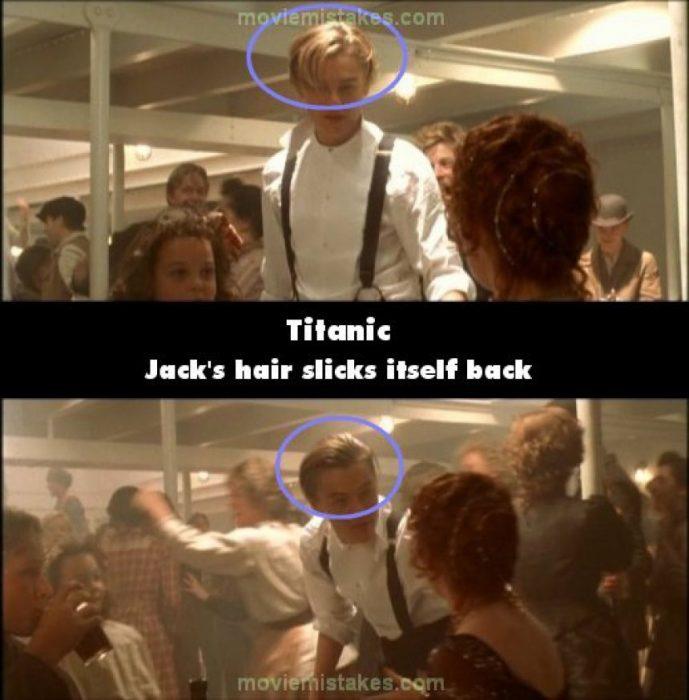 Errores de la película Titanic jack logra que su cabello se acomode solo