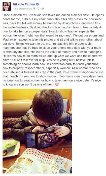 Publicación que compartió una chica en facebook sobre su hijo que la lleva a cenar una vez al mes