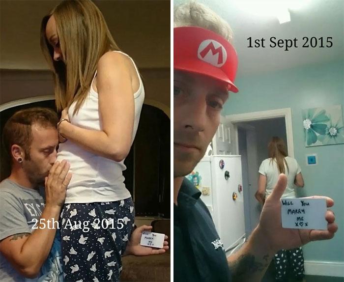 Chico proponiendole matrimonio a una chica con una tarjeta mientras se toman fotografías