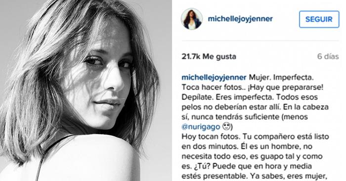 Michelle Jenner critica el estereotipo femenino en una reflexión que toda mujer debería leer