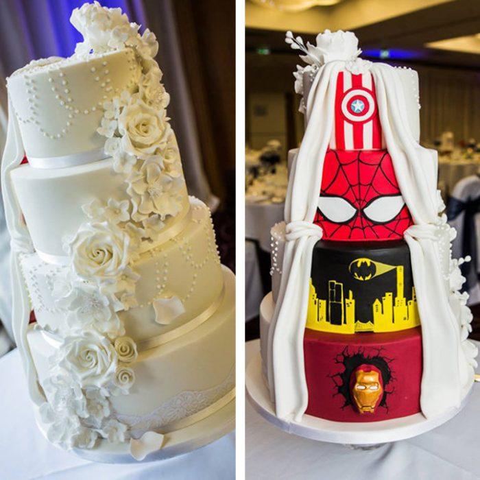 Pastel de bodas blanco y atrás como de super héroes