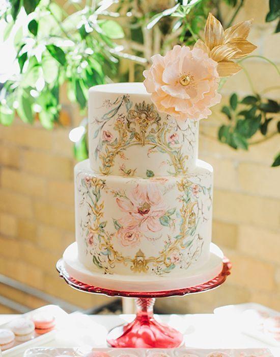 Pastel de bodas al estilo vintage