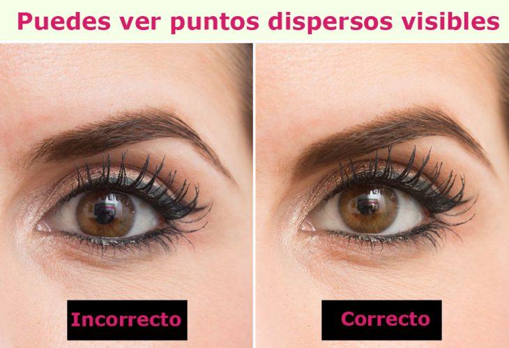 Manera correcta e incorrecta de cubrir los puntos visibles de tus cejas