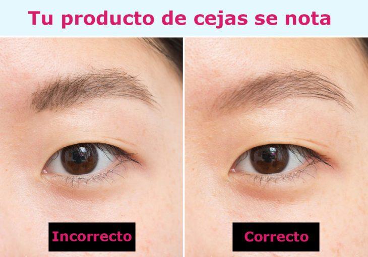 Razon correcta e incorrecta de como usar un producto para las cejas