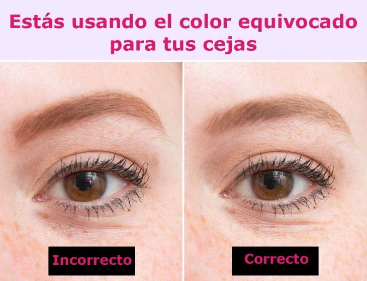 Forma correcta e incorrecta de aplicar el color en las cejas