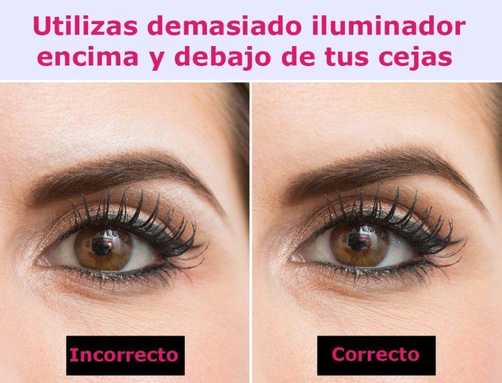 Forma correcta e incorrecta de usar iluminador en las cejas