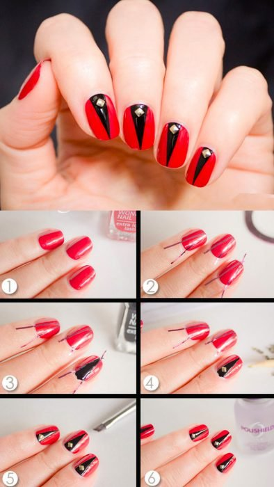 Tutorial de uñas de color rojo