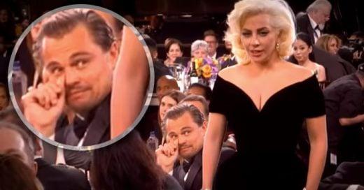 La graciosa cara de susto que Leonardo DiCaprio puso al ver a Lady Gaga en los Globos de Oro 2016