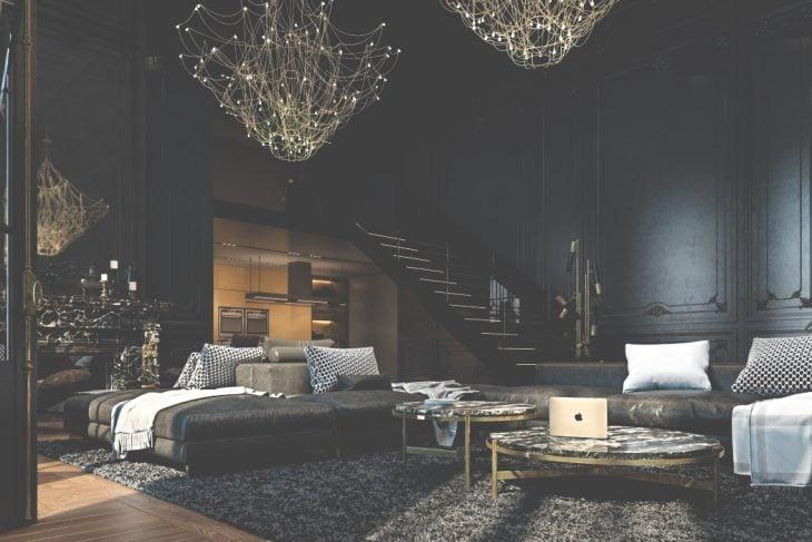 Habitación de color negro