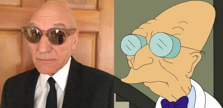 sir patrick stewart como el profesor Farnsworth