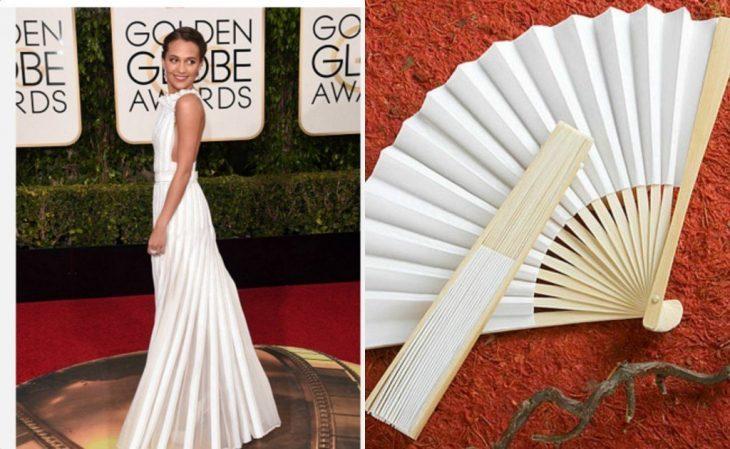 Vestido de Alicia vikander comparada con un ventilador de acordeón