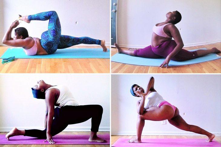 mujer de talla grande haciendo yoga
