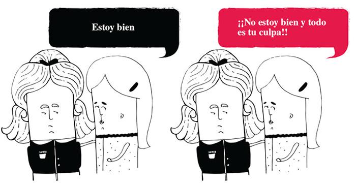 Ilustraciones que muestran situaciones donde se compara lo que le dices a una persona con ansiedad VS. lo que ellos realmente escuchan