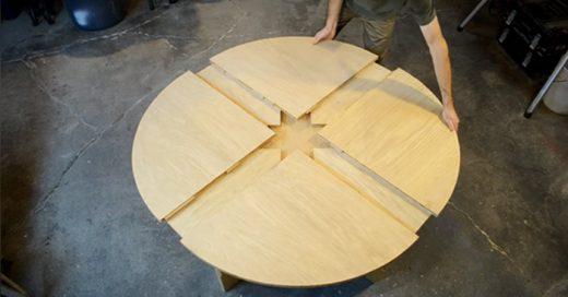 Mesa diseñada de forma que al girarla se hace más grande