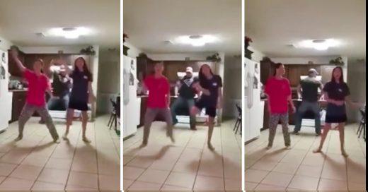 Video que muestra a un padre de familia meterse a bailar en la coreografia de sus hijas sin que ellas se den cuenta