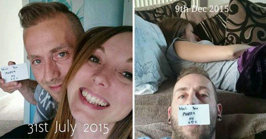 Chico que ocultó la propuesta de matrimonio a su novia en 148 fotos