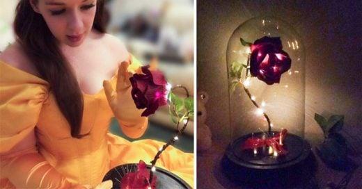 Hombre recrea la rosa de La Bella y la Bestia para su prometida