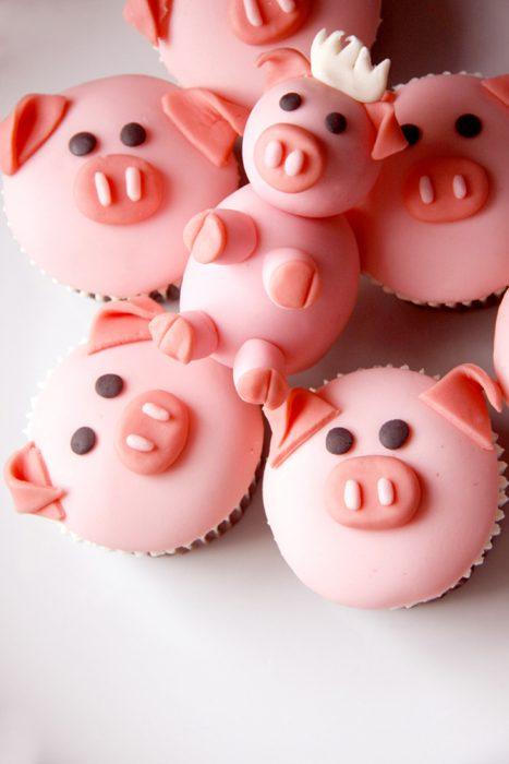 cupcakes en forma de cerdito