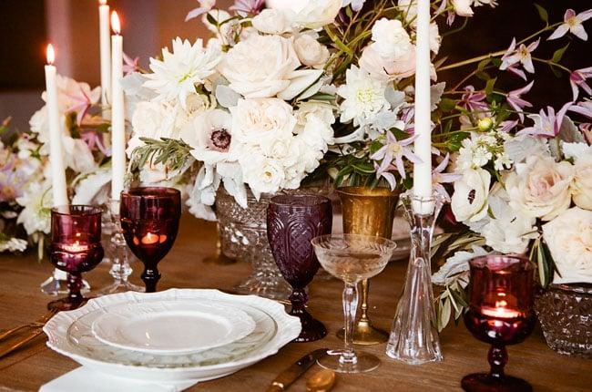 centro de mesa flores blancas