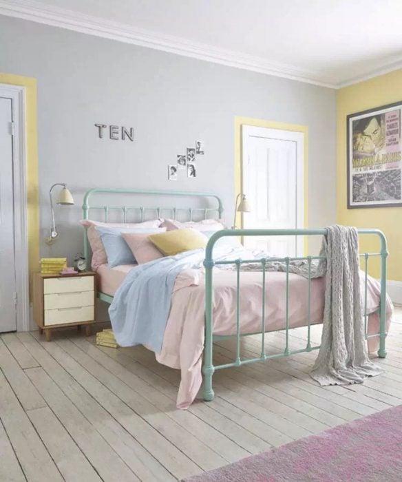 paleta de colores en tonos pastel para dormitorio