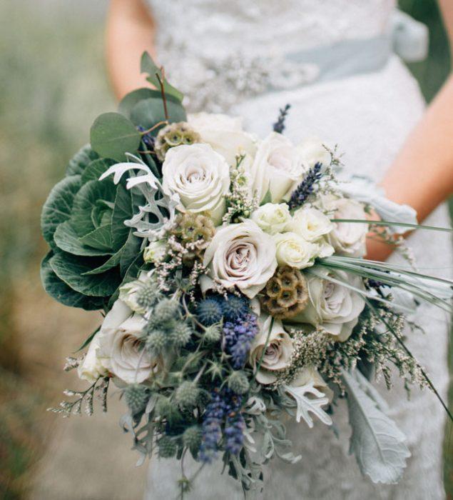 ramo de novia verde con blanco