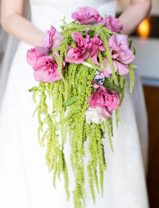ramo de novia rosa y verde
