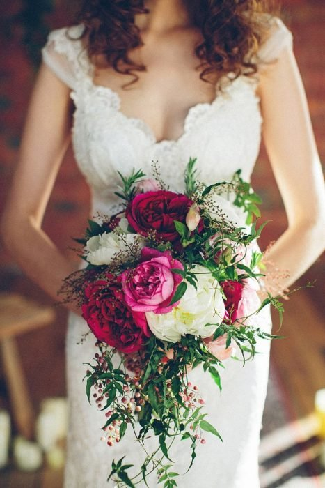 ramo de novia pequeño rosa