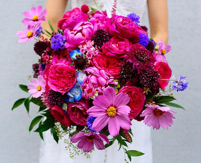 ramo de novia circular tonos rosas